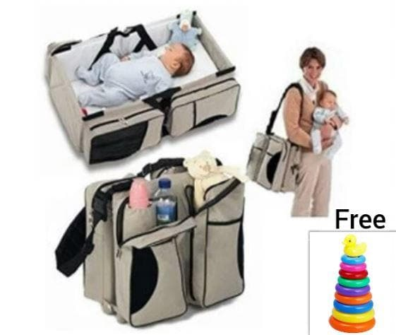 MULTI-FUNCTIONAL BABY DIAPER BAG-TRAVEL BED (Grey Only)+Stacking Ring