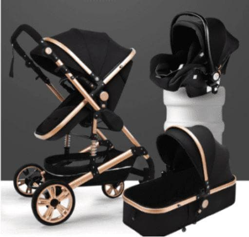 Baby Pram Stroller - 3 In 1 Function Belecoo With Car Seat Black