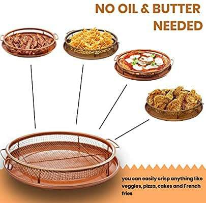 Gotham Steel Round Copper Air Fry Crisper Tray, Pizza & Baking Pan, 2 Piece Set!