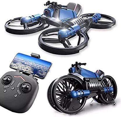 H6 2.4G 2 In 1 Electric RC Deformation Motorcycle Drone WIFI Control Car RTR Model