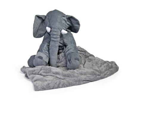 ELEPHANT PLUSH PILLOW (Grey) With Blanket