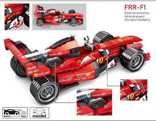 Ferrari FRR-F1 Building Blocks Pull Back Racing Car (Puzzle) - Greatest deals