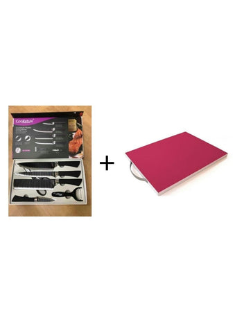 CooKstyle Knife Six Piece Set + Free Fine Living Cutting Board 33x22x0cm
