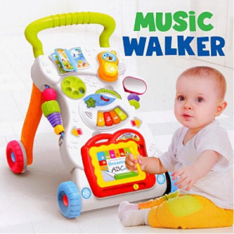 Baby Sit-To-Stand Learning & Activity Walker/Stroller With Music