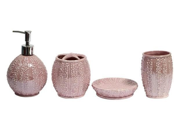Ceramic Four Piece Bathroom Set Pink/Turquoise - Greatest deals