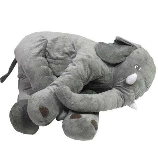 STUFFED ELEPHANT PLUSH TOY PILLOW (Grey) With Blanket