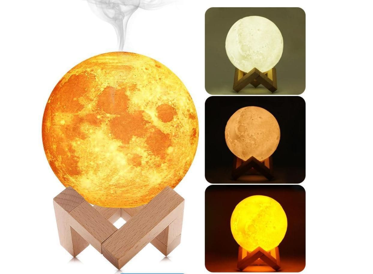 Full Moon Humidifier Lamp, LED Lunar Night Light 880ml - Greatest deals