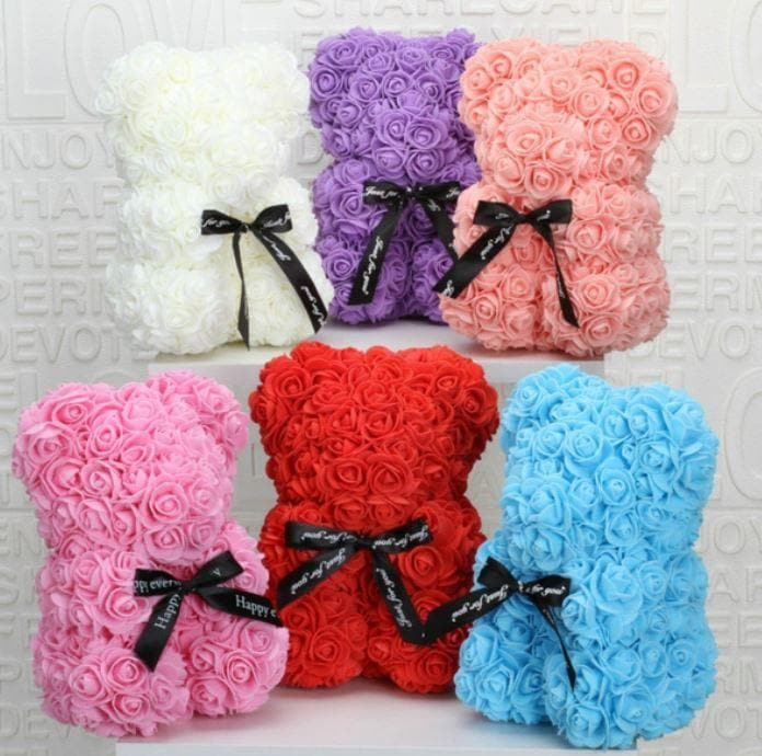 Rose Teddy Bear - Red-White-Pink-Grey - Greatest deals