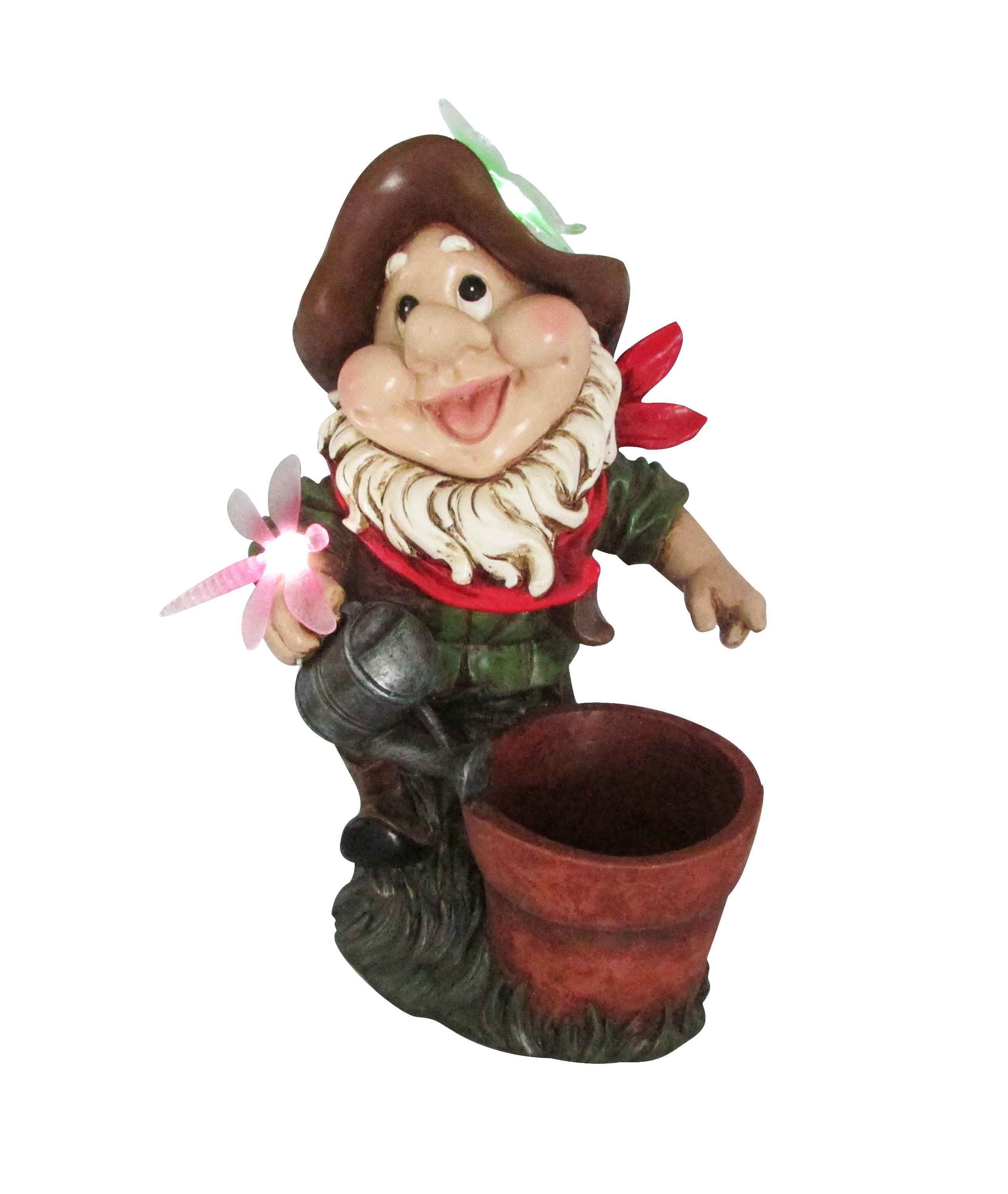 SOLAR GARDEN GNOME WITH FLOWER POT