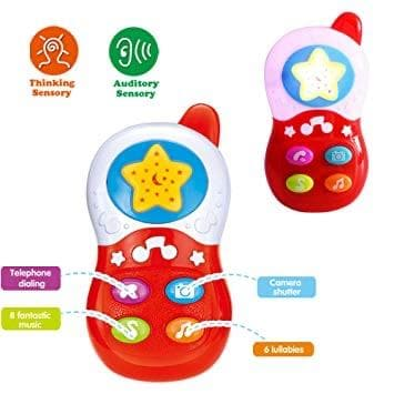Baby & Toddlers Red Mobile Phone Toy Music Player for 18 Mths +