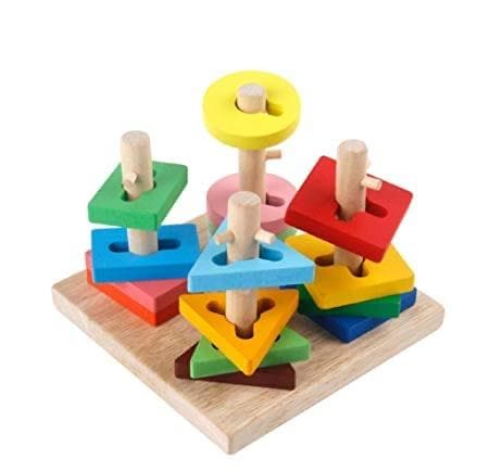 Four Columns Wooden Toys Geometric Shape Pairing Baby Child Benefit Set - Greatest deals