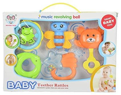 Baby Teether Rattle Revolving Bell & More