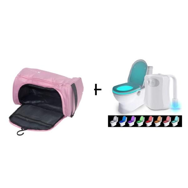 Travel Toiletry Bag Pink or Blue Plus Toilet Light