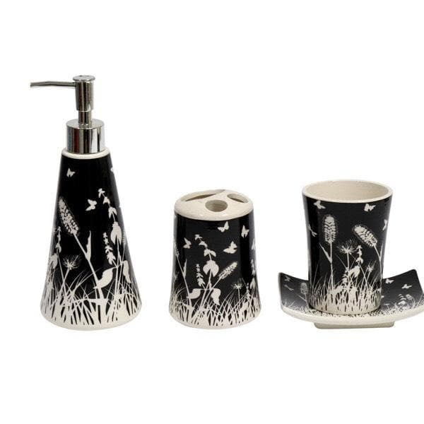 Ceramic 4 Piece Bathroom Set Black & White