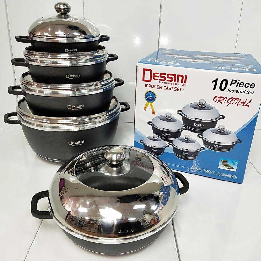 Dessini 10 Pieces Die Casting Cookware Set (Brown and Blue)