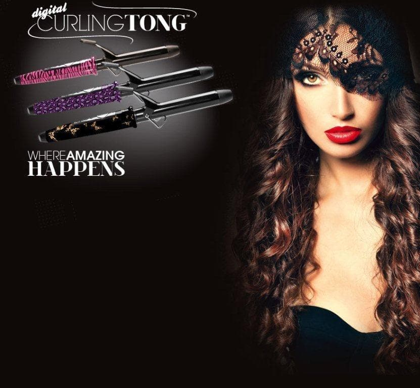 Digital Curling Tongs -Purple Leopard-Pink Zebra-Black