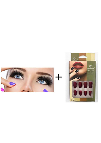 Magnetic Eyelashes, Reusable False Eyelash, 2Pairs (17) + Matte Nails 12pcs