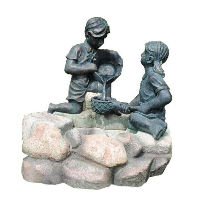 Solar Garden Water Feature Boy & Girl