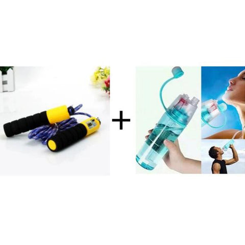Skipping Rope With Counter+ Spray Water Bottle! - Greatest deals
