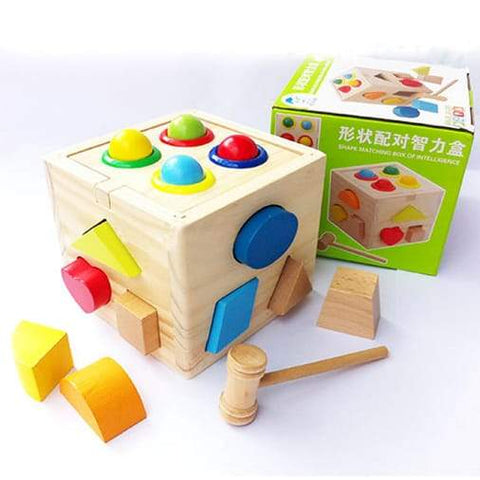 Shape Matching Box of Intelligence Wooden Hammer Ball Pounding Shapes Sorting Toy for Babies Toddlers - Greatest deals
