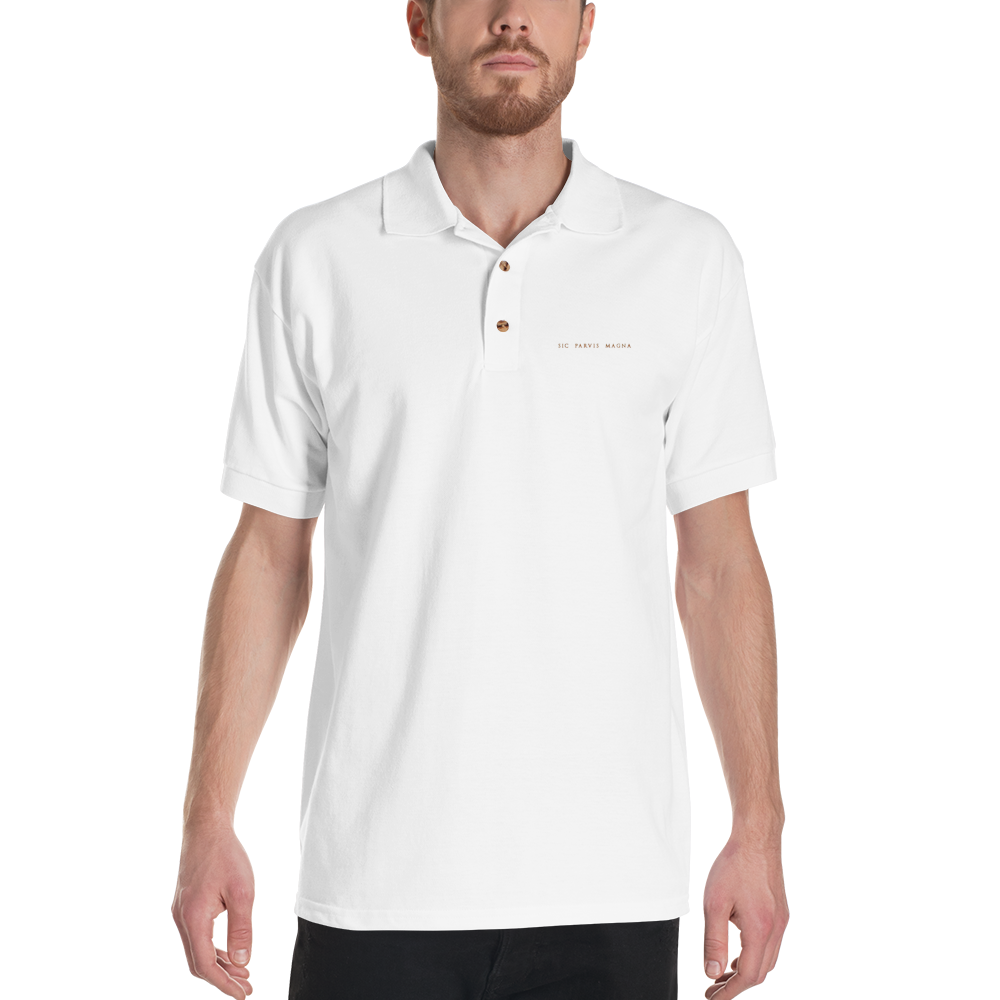 Sic Parvis Magna - Embroidered Polo Shirt - GiO (1998) Casual Style