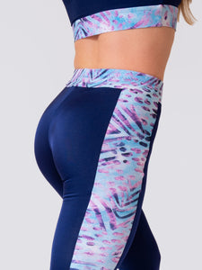 Women 7/8 High Waist Legging with Side Stripes in Blue