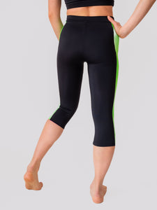 Black and green yoga and fitness daphne capri legging for women and girls by Lena Activewear