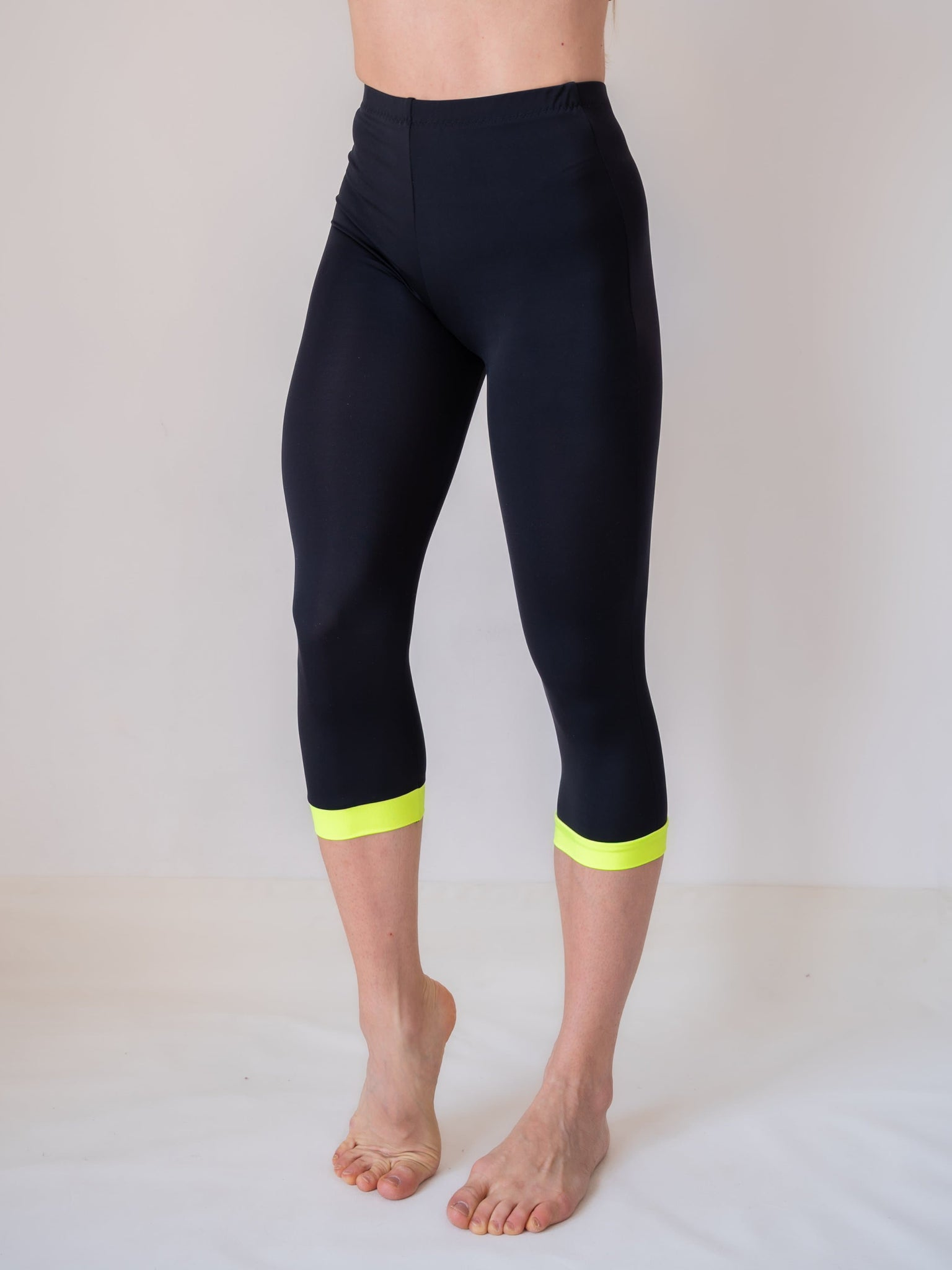 Black and yellow yoga and fitness capri legging for women and girls by Lena Activewear