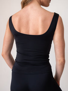 Black yoga and fitness tank tops for women and girls by Lena Activewear