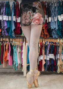 Floral Black and Pink Wrap Short Dance Skirt for Girls and Women in Chiffon by Atelier della Danza MP