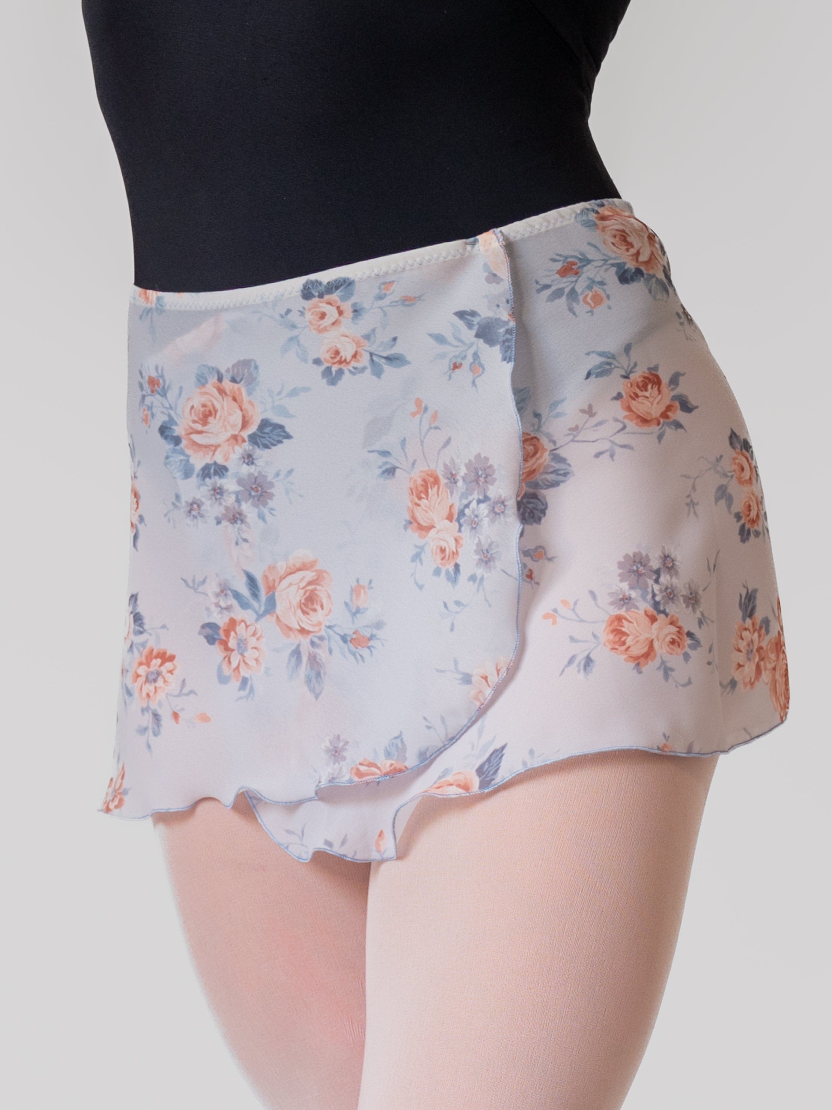 Floral Sky Blue Wrap Short Dance Skirt for Girls and Women in Georgette by Atelier della Danza MP