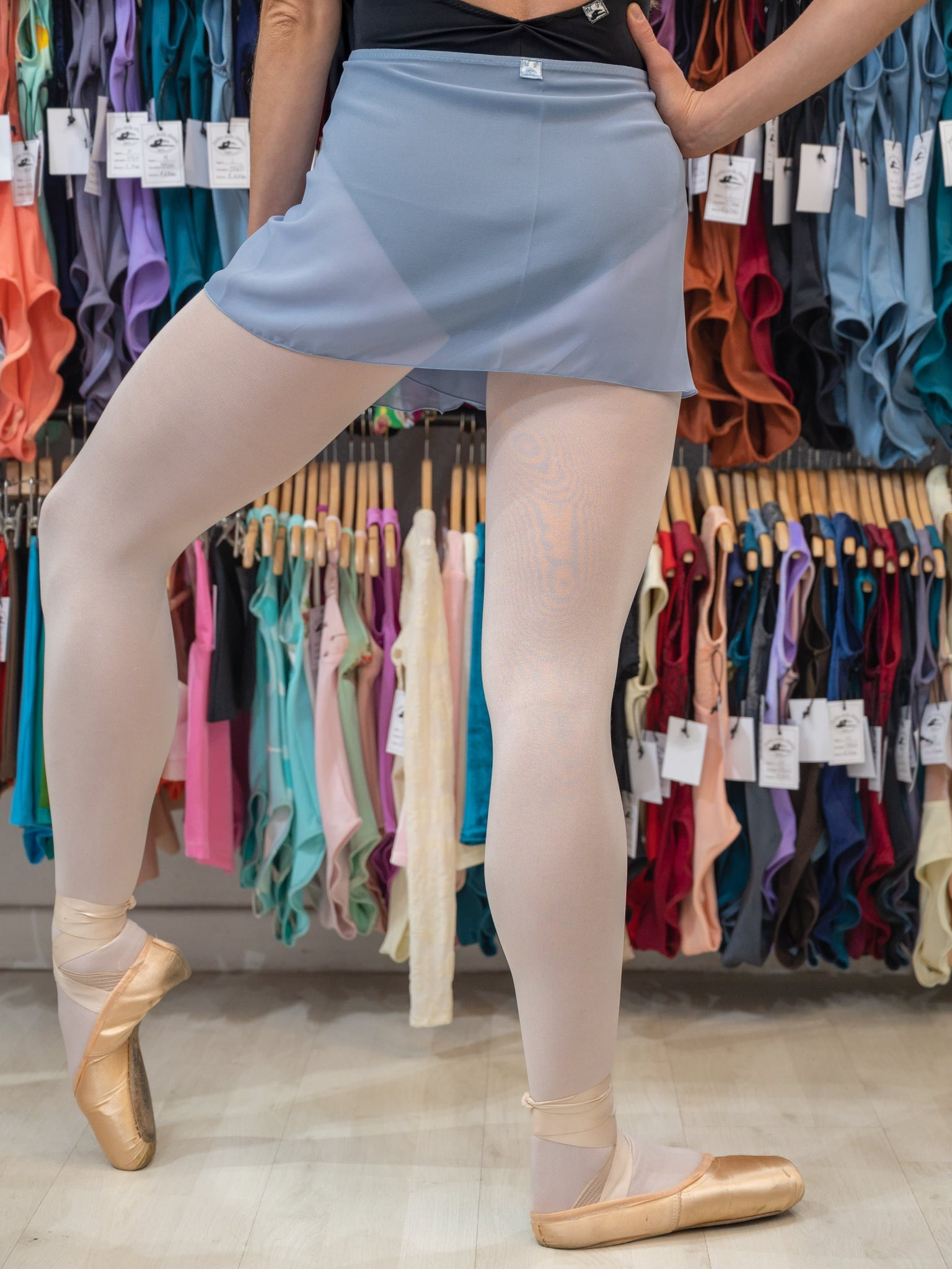 Light ash wrap ballet short skirt - ballet skirts for girls and women by Atelier della Danza MP