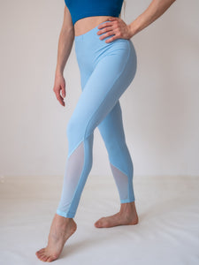 Light Blue 7/8 ankle lenght high waisted yoga and fitness legging for women and girls by Lena Activewear