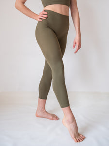 Sage green yoga and fitness capri leggings for women and girls by Lena Activewear