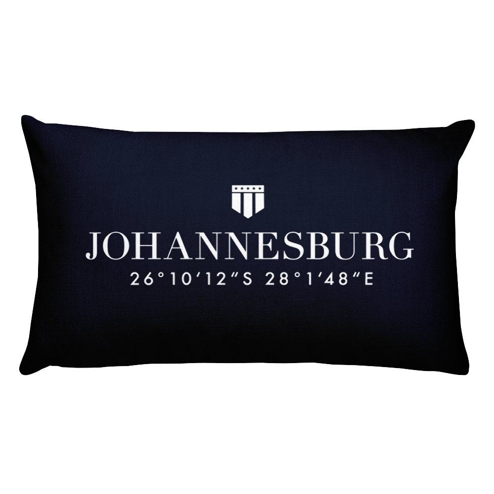 Johannesburg, Africa Pillow with Coordinates - Port Richmont