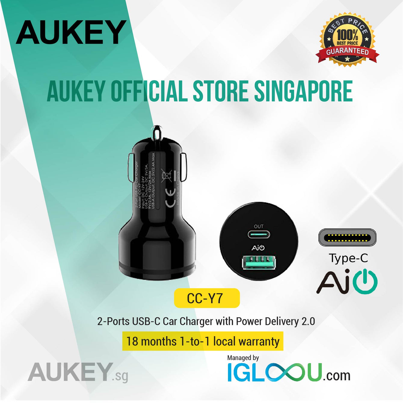 Aukey [CC-Y7] USB-C 2-Port 36W Power Delivery 2.0 Car Charger