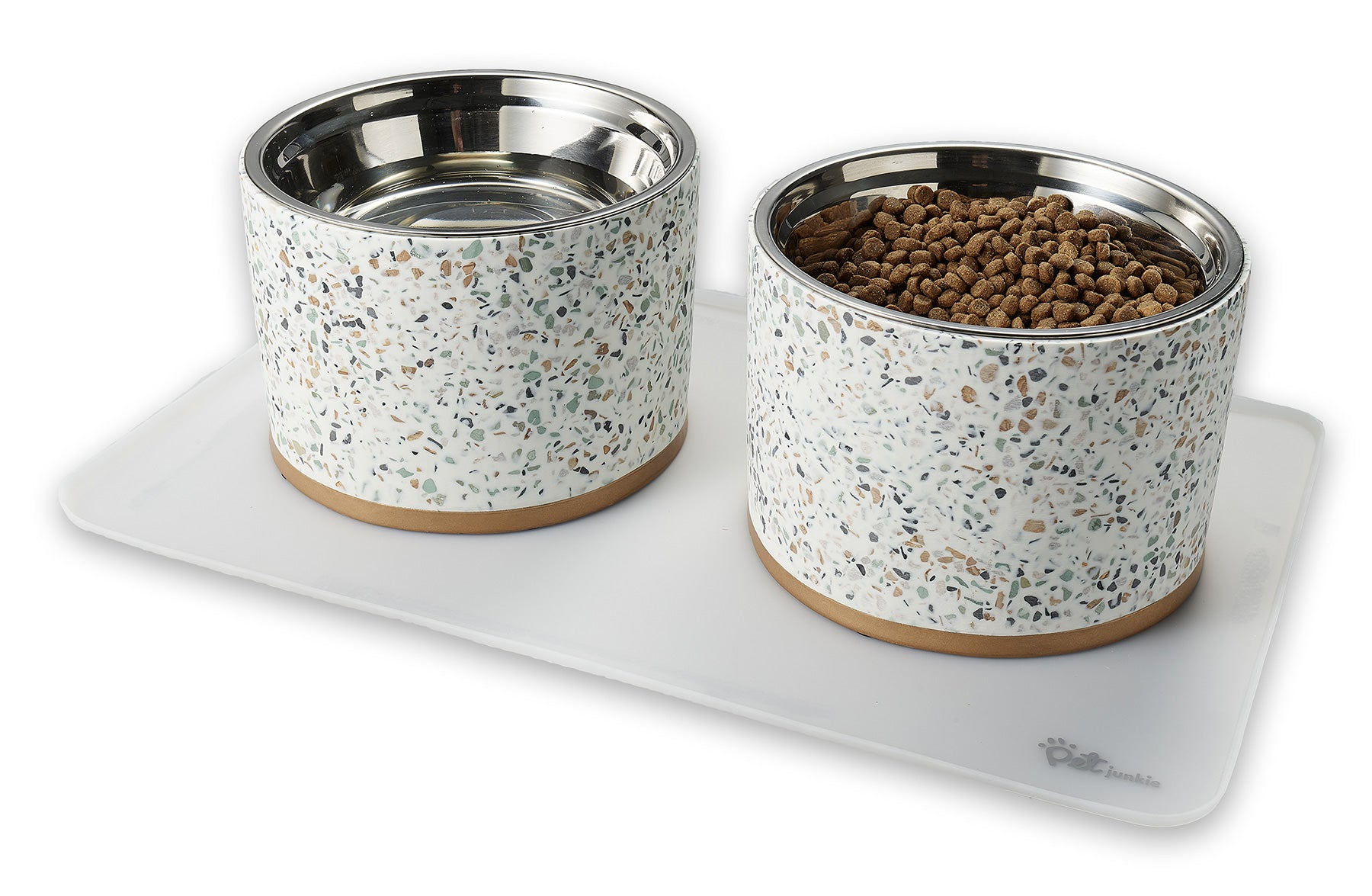 Terrazzo elevated dog bowls on transparent pet food mat
