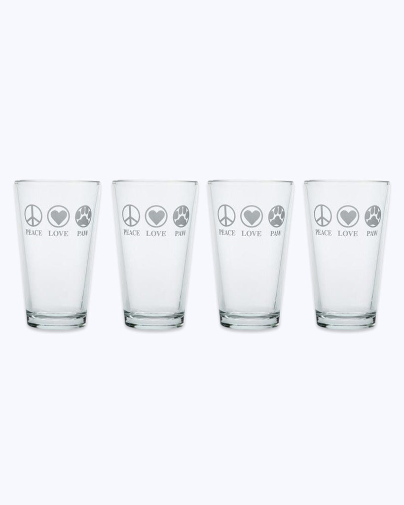 Peace, Love, Paw Pint Glasses (Set of 4)