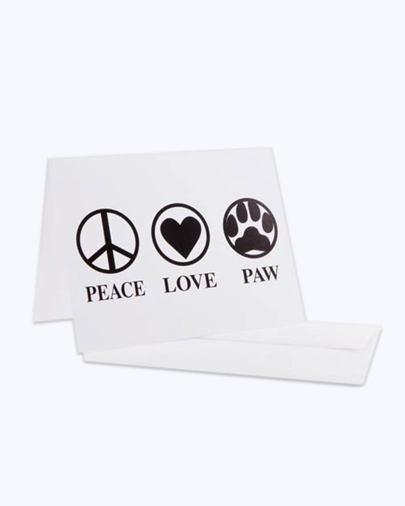 Peace, Love, Paw Note Cards with envelopes