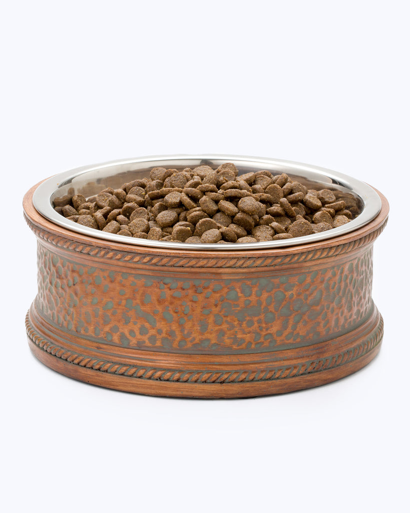Madison Pet Bowl - Copper-Colored Impressed Pebble Dish - all variants