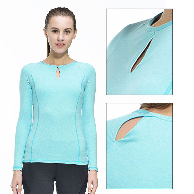 Women Fitness Compression Long Sleeve Yoga Top - yogashopper