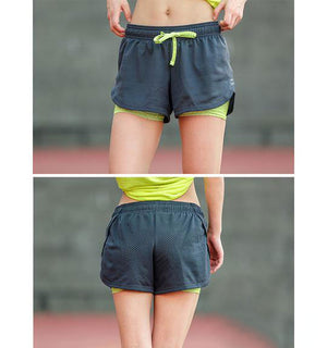 Cool Ladies 2 In 1 Women Athletic Yoga Shorts - yogashopper