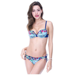 2018 Sexy Women Floral Print With Decorations Push Up Bikini Set/Swimsuit - yogashopper