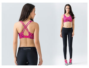 High Support Sports/Yoga Bra with Cross Over Back Double Straps - yogashopper