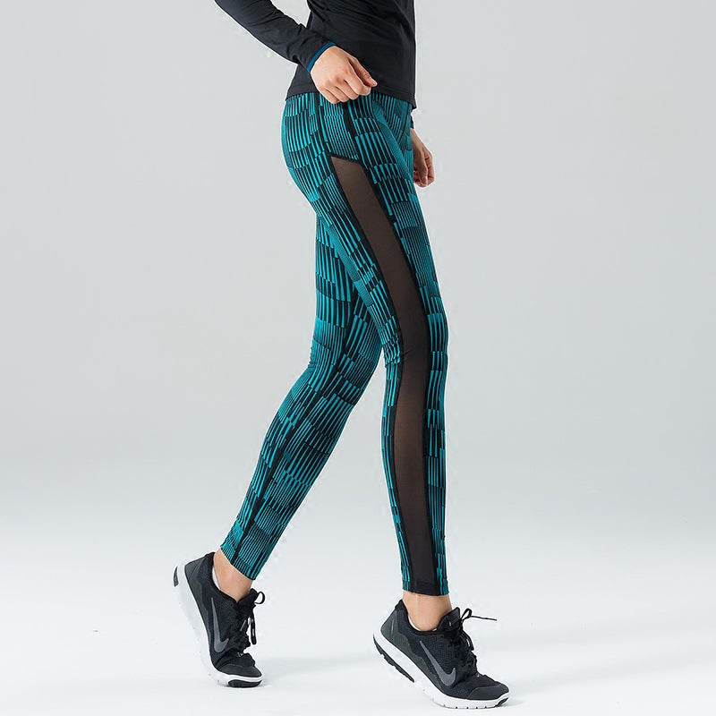 YS Women Print Mesh Elastic Sports/Yoga Pants - yogashopper