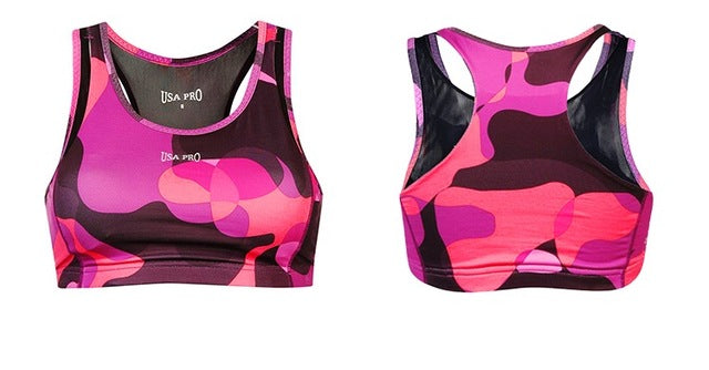 Women's Medium Support Split Straps Racer Back Padded Sports Bra - yogashopper