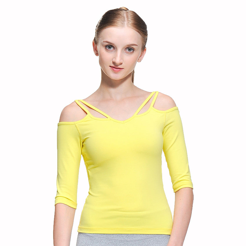 Sexy Half Sleeve Cropped Blouse/Yoga Top- White Black Yellow - yogashopper