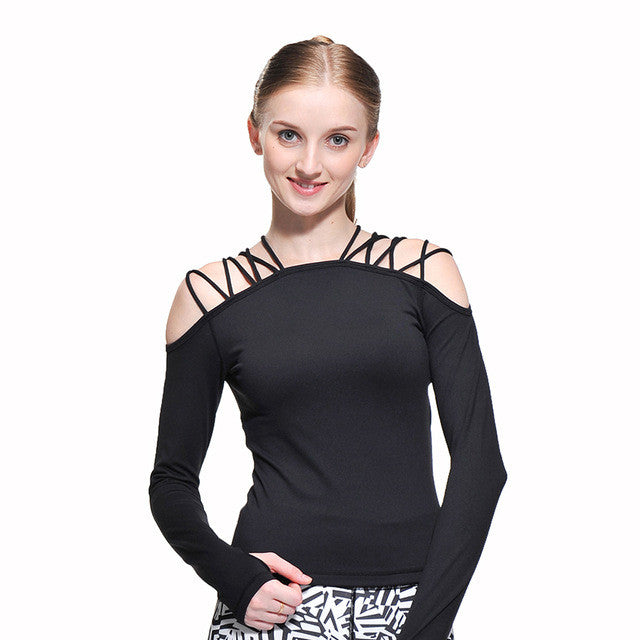 Sexy Lacing Fitness Sports Yoga Blouse/Top- Black White Blue - yogashopper