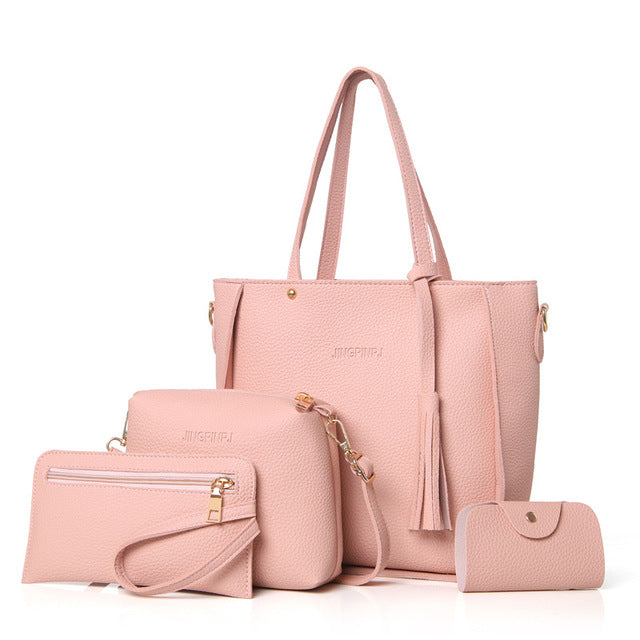 Women Bag Set Top-Handle Big Capacity Female Tassel Handbag Fashion Shoulder Bag Purse Ladies - yogashopper