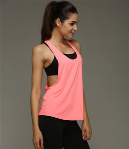 Women Loose Low V Neck Racerback Sport Tank Top - Bright Pink - yogashopper